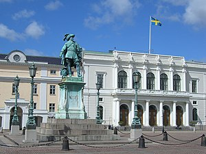 Gustaf Adolfs torg, Gothenburg - Gustav II Adolf statue, with the bourse in the background