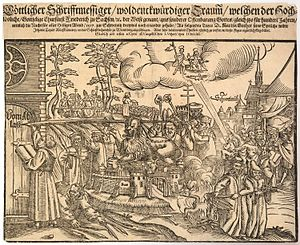 Ninety-five Theses - Print made for the 1617 Reformation Jubilee showing Luther enscribing the Theses on the Wittenberg church door with a giant quill