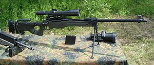 Sniper rifle - The Accuracy International Arctic Warfare series of sniper rifles is standard issue in the armies of several countries, including those of Britain, Ireland, and Germany (picture shows a rifle of the German Army).