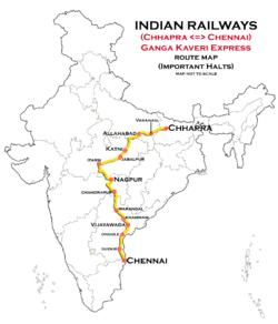 Ganga Kaveri Express (Chennai - Chhapra) Route map.png
