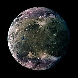 Enhanced-color Galileo spacecraft image of Ganymede's trailing hemisphere
