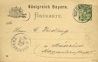 Postal stationery - A Bavarian postal card of 1895 with an imprinted stamp.