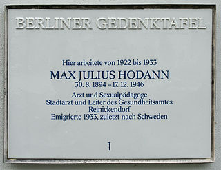 Max Hodann physician, eugenicist, sex educator, socialist. Wrote controversial sex education which saw him leave Germany