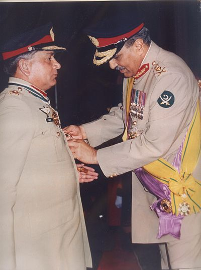 Zia presenting the Hilal-i-Imtiaz to Shamim Alam Khan General Shamim Alam Khan receiving the Hilal-i-Imtiaz.jpg