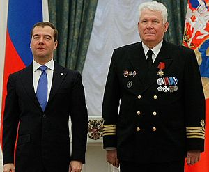 "Order of Naval Merit (Russia) - Gennady Antokhin, captain of the icebreaker ""FESCO"", wearing his Order ""For Naval Merit"" with President Dmitry Medvedev on May 3, 2012. (Photo www.kremlin.ru)"