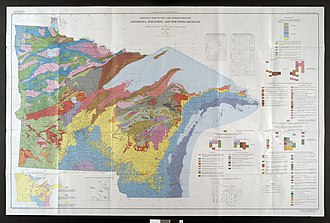 Lake Superior - Bedrock geologic map of the U.S. area bordering Lake Superior: Minnesota, Wisconsin, and the Upper Peninsula of Michigan