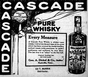 National Register of Historic Places listings in Coffee County, Tennessee - Image: George Dickel cascade ad 1914 argus