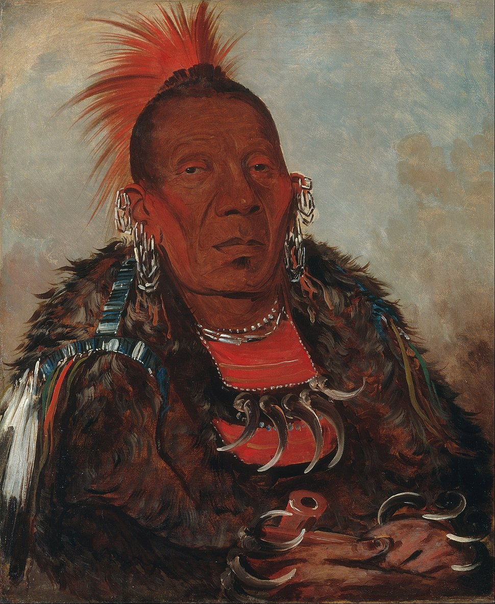 George Catlin - Wah-ro-née-sah, The Surrounder, Chief of the Tribe - Google Art Project