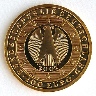 Euro gold and silver commemorative coins (Germany) - Image: Germany Goldeuro 2002 Einführung Euro Wertseite IMG 2199