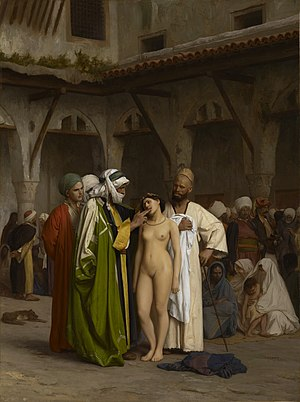 Clothed male, naked female - Image: Geromeslavemarket