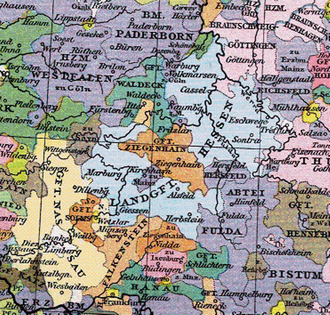 Fulda monastery - Hessian territories about 1400. Ecclesiastical territories, including those of Fulda Abbey are shown in violet