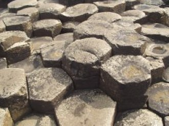 Tall tale - The Columnar basalt that makes up the Giant's Causeway; in legend, a fine set of hexagonal stepping stones to Scotland, made by Fionn mac Cumhaill