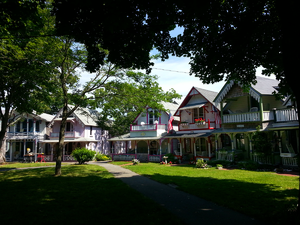 Wesleyan Grove - A row of Gingerbread Cottages in the Martha's Vineyard Campground, Wesleyan Grove, in Oak Bluffs