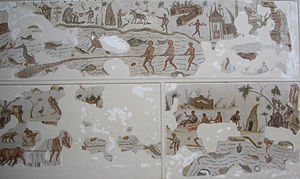 Bizerte - Roman mosaic with scenes of fishing and village life (Bardo National Museum, Tunisia)