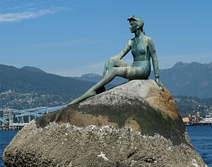 The Little Mermaid (statue) - Girl in a Wetsuit by Elek Imredy, a statue similar to The Little Mermaid, in Vancouver