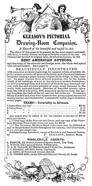 Gleason's Pictorial Drawing-Room Companion - Image: Gleason's Pictorial Drawing Room Companion Subscription Terms 1853