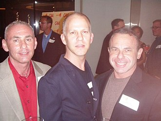 Ryan Murphy (writer) - (l-r) Governor appointee Don Norte, Glee co-creator Ryan Murphy, and Norte's husband, gay activist Kevin Norte, at Spring Time GLAAD 2010's charitable event in Century City, Los Angeles, California.