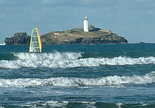 Close up view of Godrevy Lighthouse in 2005