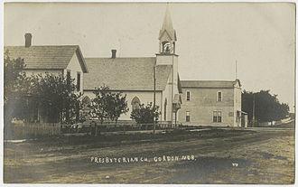 Gordon, Nebraska - Presbyterian Church on a vintage postcard