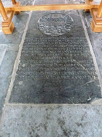 Ledger stone - Ledger stone from St Stevenskerk, Nijmegen (1668/1701). Heren van Overasselt