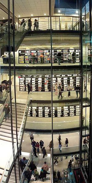 Grande Bibliothèque - The central volume of the GB, with the shelves of the Collection universelle.