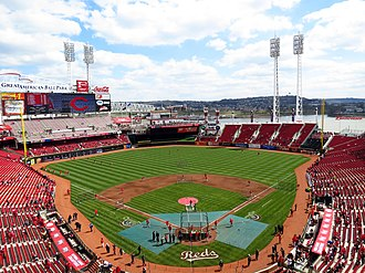 Great American Ball Park opened in 2003 along the Ohio River. Great American Ball Park (15561187833).jpg