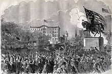 Engraving of large protest