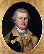 Color painting of gray-haired Nathanael Greene in 1783 by Charles Willson Peale. Greene wears his general's uniform with a dark blue coat, a buff vest and turnbacks, and brass buttons.