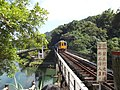 Guanpu Suspension Bridge and TRA Pingxi Line railway bridge 20141016b.jpg