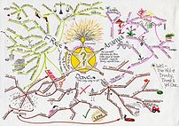 A hand-drawn mind map
