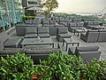 HK Central IFC terrace restaurant sofa furniture May 2013.JPG