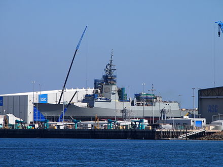 Hobart, the lead ship of the RAN's new class of air-warfare destroyers, under construction in 2015 HMAS Hobart under construction April 2015.JPG