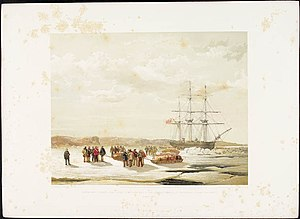 HMS Investigator (1848) - Sledge party leaving HMS Investigator in Mercy Bay under the command of Lieutenant Gurney Cresswell, April 15, 1853.