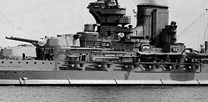 Queen Elizabeth-class battleship - Original port forward secondary casemate battery on Valiant seen circa 1930–1933