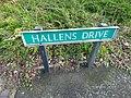 Hallens Drive, Wednesbury - road sign (37813055554).jpg