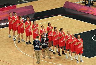 Croatia at the 2012 Summer Olympics - Croatia team singing national anthem prior to their match with Angola in the Group A preliminary rounds at the 2012 Summer Olympics in London. Right to left: Mandir, Jelavić, Mišura, Karčić, Salopek, Vrsaljko, Ciglar, Lelas, Slišković, Mazić, Ivanković, Ivezić.