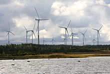 Rõuste wind turbines next to wetland