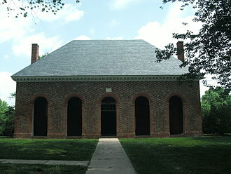 Colony of Virginia - Hanover County Courthouse (c. 1735–1742), with its arcaded front, is typical of a numerous colonial courthouse built in Virginia.