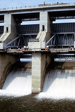 Two of the four large tainter gates at Harry S. Truman Dam Harry S Truman Dam tainter gates.jpg