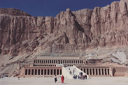 Djeser-Djeseru is the main building of Hatshepsut's mortuary temple complex at Deir el-Bahri; designed by Senemut, the building is an example of perfect symmetry that predates the Parthenon, and it was the first complex built on the site she chose, which is part of the larger Theban Necropolis. Hatshepsut Temple.jpg