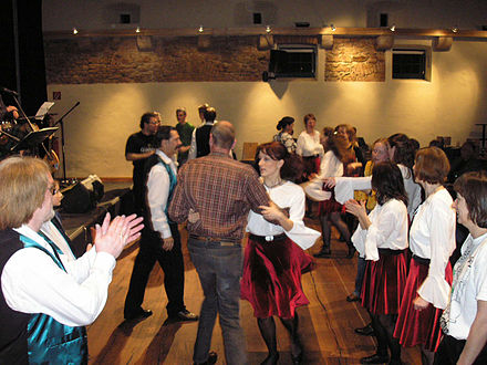Dancing the Haymakers' Jig at an Irish ceilidh