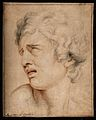 Head of a man expressing acute pain. Pencil drawing after Ch Wellcome V0010483.jpg
