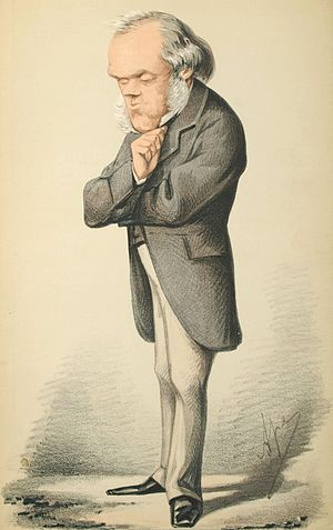 "Henry Bruce, 1st Baron Aberdare - Caricature of Bruce by Carlo Pellegrini published in Vanity Fair in 1869 with the caption ""He has gained credit by converting himself to the Ballot; he would gain greater credit by converting himself into an ex-secretary of State for the Home Department"""