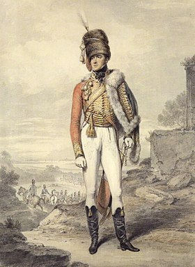 "Un portrait d'Henry, Lord Paget, plus tard 1er Marquis de l'île d'Anglesey, Colonel du 7e Regiment des ""Light Dragoons"" (Hussards) en 1807."