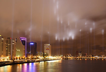 Lights along the fire line memorialize the bombing of Rotterdam, 14 May 2007 HerdenkingVuurgrensRotterdam1940 2007 edit1.jpg