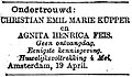 Het Nieuws van den Dag no 12374 advertisement Emil Küpper and Agnita Feis.jpg