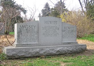 W. A. Hewitt - The Hewitt family tombstone, with W.A. in the centre, and Foster to the right, in Mount Pleasant Cemetery