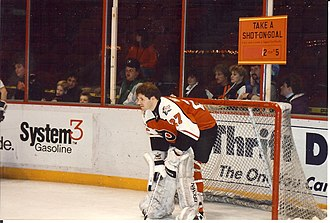 Ron Hextall - Hextall in goal during the 1992 Flyers' Wives Carnival.