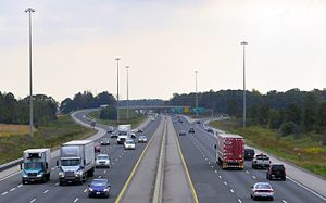 Ontario Highway 401 - Highway 401 widens to six lanes at Highway 402 in London.