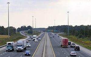 Ontario Highway 401 - Highway 401 widens to six lanes at Highway402 in London.